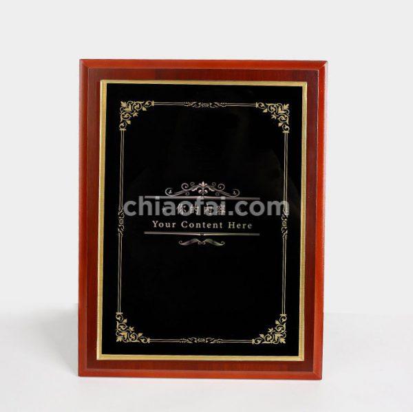 紅木色鏡面水晶獎牌